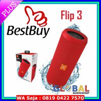 (Speaker) JBL Flip 3 Speakerphone, Anti-percikan air, JBL Bass Radiator - Merah