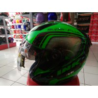 Helm ink metro 2 super fluo edition black green fluo double visor size M