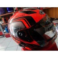 Helm ink metro 2 super fluo edition black red fluo double visor size M