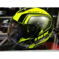 Helm ink metro 2 super fluo edition yellow fluo double visor size M