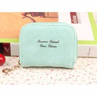 Women Scrub Zipper Coin Purse Short Wallet Card Holders Handbag