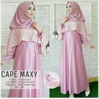 Cape maxy pink / dress pesta elegant cantik murah gamis
