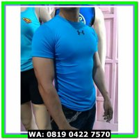 (Sneakers) Kaos fitness bodyfit sport Under Armour hitam