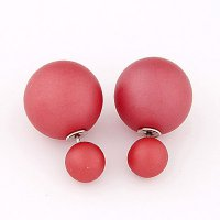Pure Color Round Shape Earing - Red