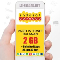 PROMO Indosat Paket Data KUOTA 2GB (3G/4G)+Unlimited Apps 24jam, 30hari