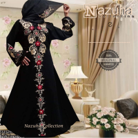 Baju gamis pesta Zahra | Dress jumbo-longdress flower-p