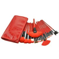 Kuas Set Make Up For You Merah / 24pcs / Brush Set / Dompet