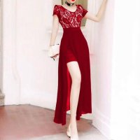Maxi Dress Simply Brokat Merah Hati