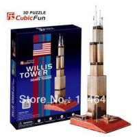 [globalbuy] Sears Tower CubicFun 3D educational puzzle Paper & EPS Model Papercraft Home A/1193117