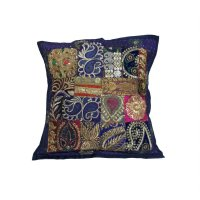 Sarung Bantal Kursi India - Dekorasi Bordir & Payet 620493.7 - Navy