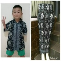 Cj collection Couple batik 2in1 ibu dan anak rok span panjang plisket wanita jumbo dewasa long skirt dan atasan kemeja anak-anak shirt Chitra M - XL