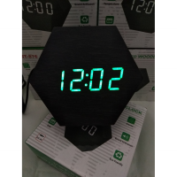 Jam Meja Digital Led Weker Digital Wood Alarm Clock black green