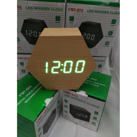 Jam Meja Digital Led Weker Digital Wood Alarm cream green