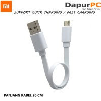 Kabel Micro USB Powerbank 20 cm Quick Fast Charging - Xiaomi Mi