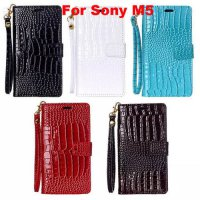 [globalbuy] Luxury Crocodile design wallet PU leather cover case for Sony Xperia M5 phone /5174505