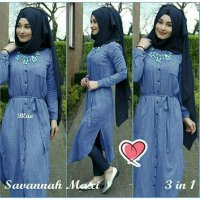 Savannah Denim Hijab Set 3in1