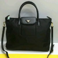TAS PRADA TESSUTO SMALL SIZE FLAP BLACK LONGCHAMP ORI LEATHER BLACK