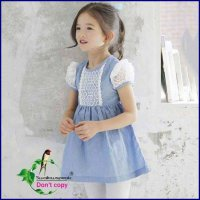 Dress Anak Denim Brukat