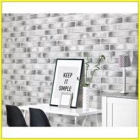 Hyundae Fixpix Wallpaper Sticker Dinding HWP 21641 Black White Brick