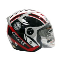 INK Enzo #1 Helm Half Face - Solid White Fire Red