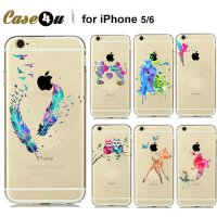 [globalbuy] Fashion Watercolor Art Design Transparent TPU Smartphone Case For IPhone5 5s 6/3029993
