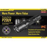 Senter NITECORE P20UV LED with UV Light CREE XM-L2 T6 800 Lumens