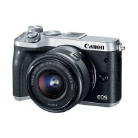 Canon EOS M6 Kit 15-45mm Kamera Mirrorless - Silver Free Mount Adapter EF-EOS M Without Tripod