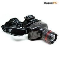 Senter Kepala [Light Glare Headlamp Telescopic Zoom Outdoor 3W] Black