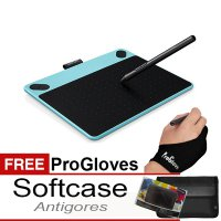 Wacom Intuos Comic Pen & Touch Small CTH-490/B1 Mint Blue Free Softcase, Antigores & Glove
