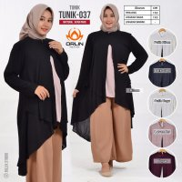 ORLIN TUNIK-037 MATT KATUN PARIS TUNIK TWO TONE KOMBINASI DUA WARNA NON BUSUI ALL SIZE