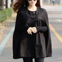 [Pinky Shop - Double button cape coat / cape coat / poncho / cape / jacket / cape cape / wool