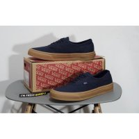Sepatu Vans Authentic Dark Dress Blue Navy Rubber Gum Brown DT Premium