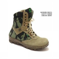 KICKERS HIGH DELTA SAFETY BOOTS SUEDE CREAM ARMY