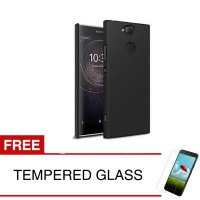 Case for Sony Xperia XA2 - 5.2 inch - Slim Black Matte Hardcase + Gratis Tempered Glass