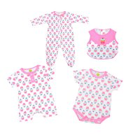 (4 in 1) Jumper & Romper Bayi M3 Unisex l umur 3-12 bulan | Motif Cupcake/Kitty/Zebra/Mini Car