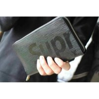 Dompet LV supreme black long zipper. high quality. or8i leather