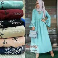 Gamis Muslim Bubble Crepe Bordir Sweety / Dress Maxy Crepe Serut XL Murah
