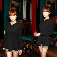 Dress Blouse Top Black Perplum Tangan Panjang (SS SH 07B)