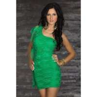 Dress Brukat Hijau One Shoulder Tanktop Stretch Sexy (WB D 02D)