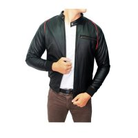 Male Semi Leather Jacket Oscar Hitam – JAK 1958