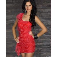 Dress Brukat Merah One Shoulder Tanktop Stretch Sexy (WB D 02A)