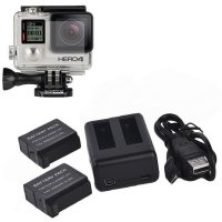 Two Battery Charger Charging Powerful Bank Camera for GoPro HD Hero 4