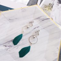 Aksesoris Hijab Anting Jepit / Clip Green Feather Earring - RAT1228