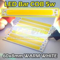 WARM WHITE - LED Bar COB 5w Strip 60x8mm Lampu Batang Petak Persegi