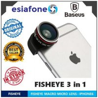 [esiafone great deal] BASEUS 3 in 1 Fisheye Wide Angle Macro Lens for iPhone / Smartphone (3-in-1)
