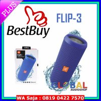 JBL Flip 3 Speakerphone, Anti-percikan air, JBL Bass Radiator - Biru