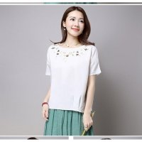 Atasan wanita - blus - blouse import 4803 - White Round Embroidery (M,L,XL) Casual Top