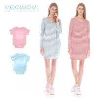 MOOIMOM Comfort Stripe Long Sleeves Nursing T-Shirts Dress Couple Set Baju Hamil Menyusui Couple Ibu Anak