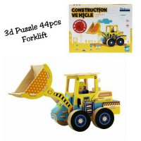 LIMITED mainan puzzle Forklift 3D isi 44pcs kayu premium finishing