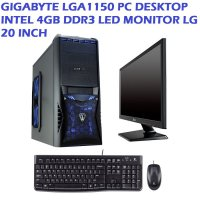 PAKET GIGABYTE LGA1150 PC DESKTOP INTEL 4GB DDR3 LED MONITOR LG 20 INCH (PAKET 1)
